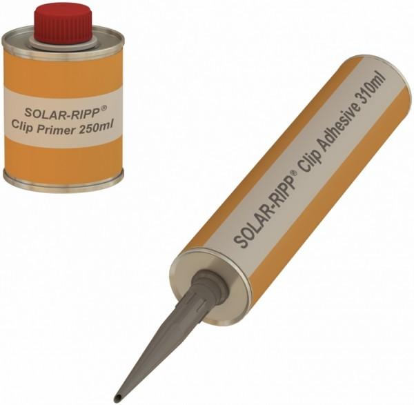 Set Klebemasse (Kleber) + Haftvermittler zur Klebung von SOLAR-RIPP ® Clips